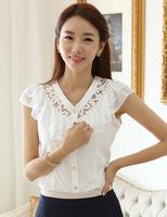 New 2014 summer fashion women V-neck basic shirt lace chiffon blouses