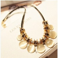 2014 New Hot Elegant Pu Leather Rope Chain Opal Metal Sequins Statement Necklace Choker Necklace For Women False Collar