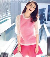 2014 Spring And Summer Magazine Organza Silk One-piece Dress Twinset Women Dress 3161