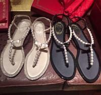 2014 spring and summer rene caovilla pearl sandals rhinestone female flat bow clip toe flat