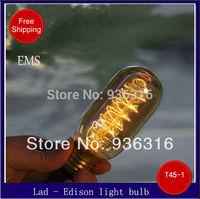Free shipping EMS E27 T45 40W 220V 100pcs/lot retro light bulb wall lamp Chandelier bulb Edison light Bulb Incandescent Bulbs