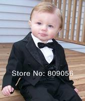 B25 baby black page boy suit Boy Wedding Suit Boys' Formal Occasion Attire Custom made suit tuxedo(jacket+pants+vest+tie)