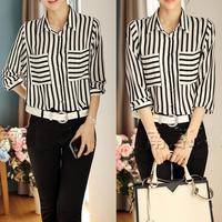 Womens Long Sleeve Button Down Shirt Blouse Tops Career Vertical Striped Chiffon Free Shipping Dropshipping