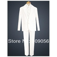 B127 handsome white page boy suit Boy Wedding Suit Boys' Formal Occasion Attire Custom made suit tuxedo(jacket+pants+vest+tie)