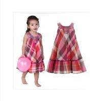 2014 new arrival fashion Girls spring and summer Monsoon sleeveless beading plaid princess dress kids girl vest tutu dress