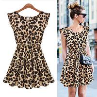 Women Sexy Leopard Pleated Ruffle Sleeveless Above Knee Vest Mini Dress Sundress Free shipping CY0861