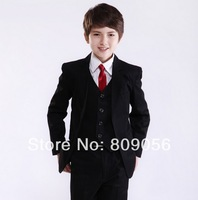 B148 handsome black page boy suit Boy Wedding Suit Boys' Formal Occasion Attire Custom made suit tuxedo(jacket+pants+vest+tie)