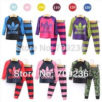 Brand children clothing Pink princess cotton girls clothing sets  shirt+ pajamas clothes underwear set