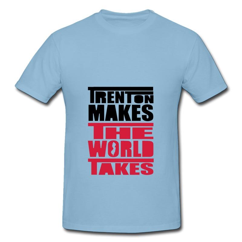 Round Neck Boys Teeshirt TRENTON MAKES THE WORLD TAKES Fun Picture Shirts for Mans(China (Mainland))