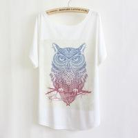 2014 Hot Sale! Fashion Cotton T shirt  Lovely big eyes owl Print O-neck Short Batwing Sleeve Women Plus Size Tops -H318