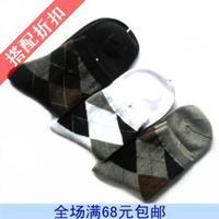 Socks 100% cotton male plaid knee-high socks antibiotic spring rhombus white black