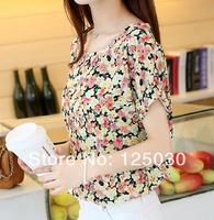 2014 spring short-sleeve T-shirt female women's plus size loose shirt basic shirt female chiffon summer thin