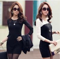 2014 spring one-piece dress female women's slim basic long-sleeve dress spring and summer fashion dress plus size free shipping