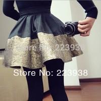 New 2014 Women Skirts saia Fashion Pleated black golden patchwork ball Gown Short Skirt F0322