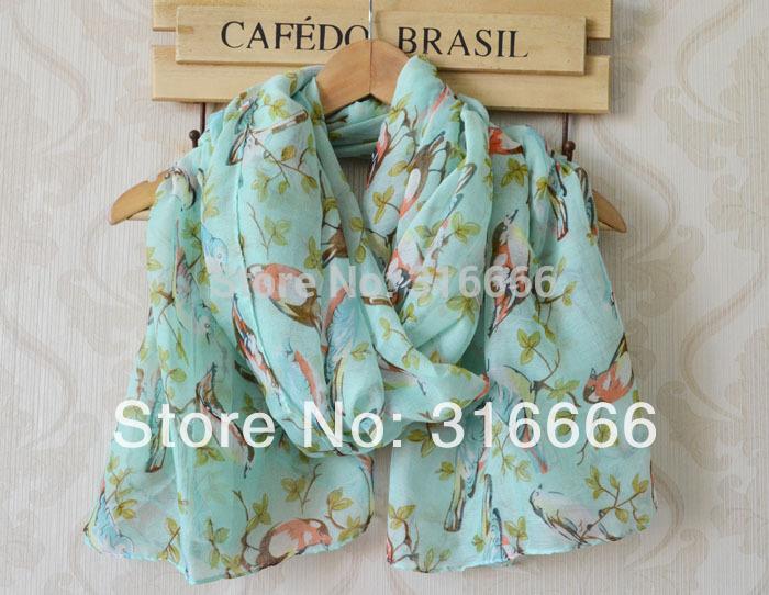 2014 fashion women summer spring scarf,Free shipping,long Women shawl,bird print,branches print,viscose hijab,muslim hijab,wraps(China (Mainland))