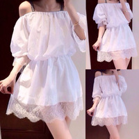 2014 new spring summer fashion New arrival strapless slit neckline puff sleeve one-piece dress  free shipping