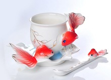 3Pcs  Red Fish Franz Porcelain Coffee set/ Cup saucer and Spoon