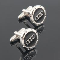 Car Logo audi High Quality French Coin Cufflinks for Mens fashion Stud cuff-link sleeve botton decorative cuff-botton