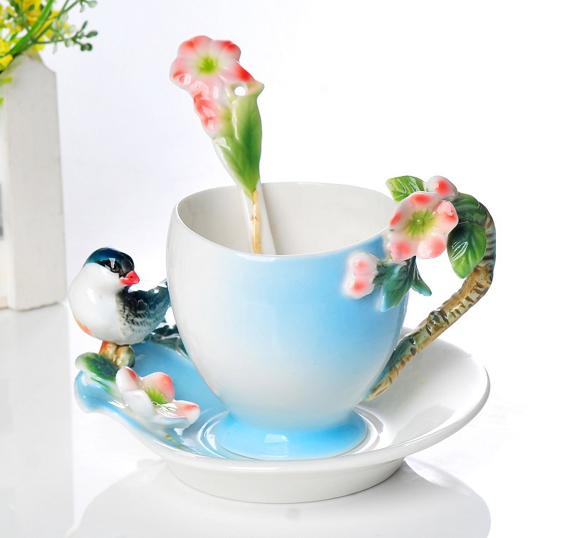 3Pcs Robin at the Cherry tree Franz Porcelain Coffee set Cup saucer and Spoon