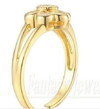 Vintage Floral Toe Ring Genuine 9K Yellow Gold 0 56 ct tw Round Cut NSCD Synthetic
