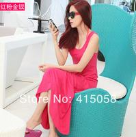 Women's plus size fashion bohemia vest full dress modal one-piece dress beach dress