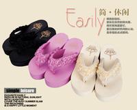 2014 new design charm roses romantic designer shoes casual beach flip flops factory wholesale women E21