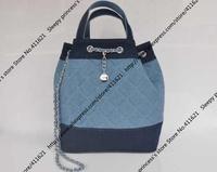 37CM Cylindrical Denim Tote Bag / 2014 Hot Designer Women Tote Bag with Chain closure / New Style Denim Tote Bag (BG328)