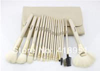 Free shipping 18 Pcs SixPlus Professional Makeup Brushes With Beige PU Leather Bag Wooden Handle Brushes Cosmetic Brushes
