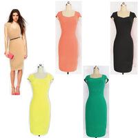 4 colors XXL size  Zipper Short Sleeve Summer Dress Women Fashion Knee-Length Bodycon gowns  summer vestidos casual dress summer