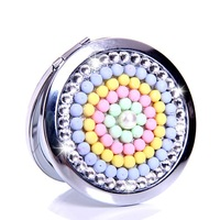 10 Pcs/Lot Rhinestone Color Small ball Make Up Mirror Stainless Steel Frame Double Sided Enlarg Compact Mini Mirror Wholesale