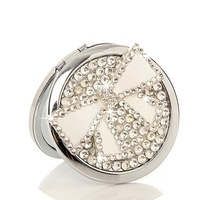 10 Pcs/Lot Rhinestone Bow Make Up Mirror Stainless Steel Frame Double Sided Enlarg Compact Mini Mirror Wholesale