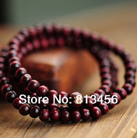 Wholesale Supported 108*6mm Imitation Red Sandal Wood Buddhist Bracelet Tiny Beads 3-4 rounds Folk Style Amulet
