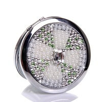 10 Pcs/Lot Luxurious shine Rhinestone Make Up Mirror Stainless Steel Frame Double Sided Enlarg Compact Mini Mirror Wholesale