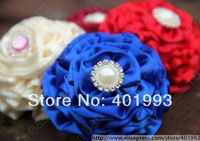 Free shipping Wholesale 150pcs/lot Mixed 9colors Ribbon Flower Blooming Rose With Diamond Girl Hair Accessory Bridal Flower 3017