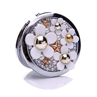 10Pcs/Lot Rhinestone Prarl Daisy MakeUp Mirror Stainless Steel Frame Double Sided Enlarge Mini Compact Mirror Wholesale