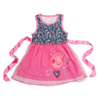Free Shipping Retail New Arrive 2014 Cotton Peppa Pig summer dress girl