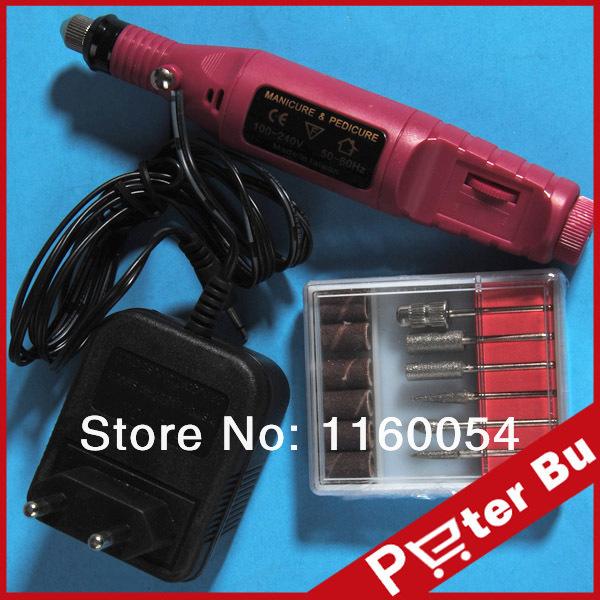2014 Electric Pen Drill Acrylic Nail Art Tips Design Machine Drill 6 Bits Block Nail tools kit 508 free shipping(China (Mainland))