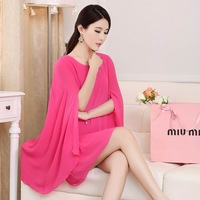 Fashion Uprising Holidaying 2014 one-piece dress cape batwing sleeve cloak skirt loose plus size chiffon one-piece summer dress