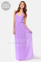 2014 HAODUOYI crossing straps halter long floor length chiffon dress for wholesale and free shipping