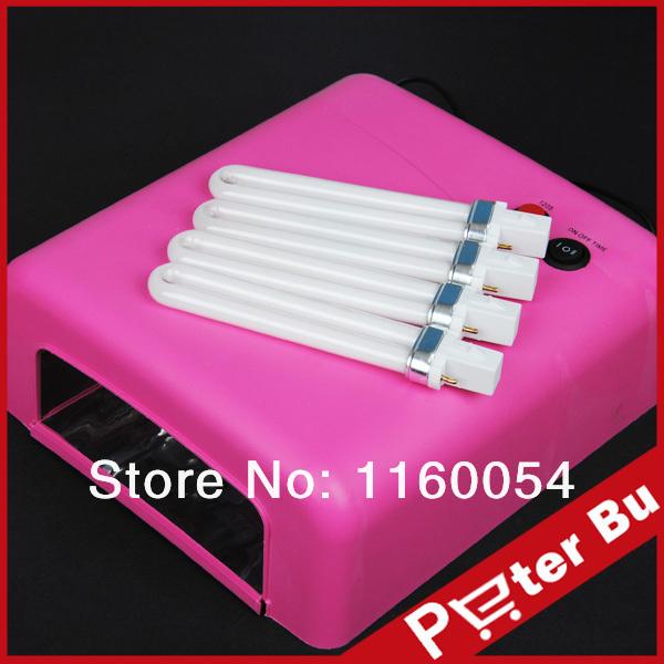 2014 Pro 36W Pink UV NAIL Art CURING LAMP GEL DRYER BULB LIGHT ACRYLIC Tips Kit 512 free shipping(China (Mainland))