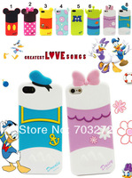 1pcs New Cartoon Cute minnie mickey mouse bow bear duck three eyes monster silicone case cover for iphone 4 4S free shipping