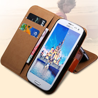 Most Popular! Korea Genuine Leather Case for Samsung Galaxy S3 I9300 Ultrathin Stand Wallet Cover With Magnetic Buckle RCD01247