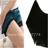 Black ice  silk lace three point trousers knit the underpants security short