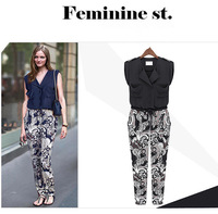 L7076 European American Fashion Floral Patchwork Turn-down Collar Women Jumpsuits Free Shipping Summer Loose All Match Girl Set
