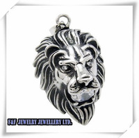 "Hot Sale Men's Silver King of Lion CZs Stainless Steel Pendant with 21"" Chain Necklac,Free Shipping,P#162"