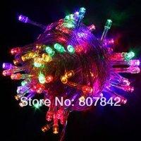 LED christmas tree lights 50M 400LEDs 220V christmas string lights 28W 7colors choose RGB wedding lights for wholesaler