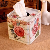 Free Shipping! Full Blooming Rose Facial Paper Case Metal Tissue Box  Paper Roller Holder Home Storage Box Decoration Gift T1250