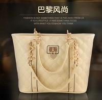 Korean version of the new spring 2014 women's new fashion leather bag Paris big bag shoulder bag retro wave texture