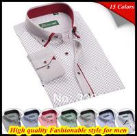 Free shipping European size Hombres de camisa Long sleeve Non iron 38-44 plaids dress double collar shirt for men 2014 QR-1359