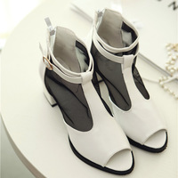 2014 summer casual open toe shoes network breathable back zipper low-heeled shoes thick heels